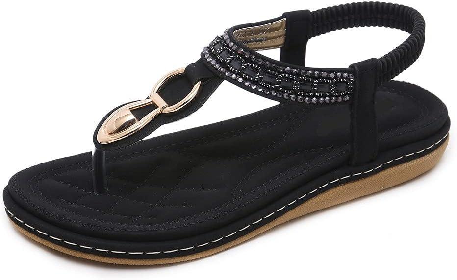 DovSnnx Women's Summer Flat Open Toe Sandals Slip On Flip Flops Sport Wedge Low Heel Shoes with Arch Support Outdoor Slippers Elastic Strap Bohemia Beach Travel Rhinestone Clip Toe Black