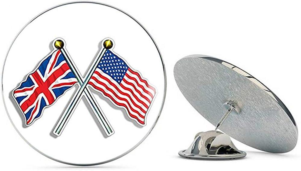 NYC Jewelers Crossed Poles with USA & Union Jack Flags (UK British Britain) Metal 0.75