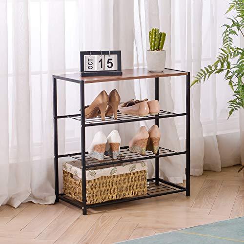 Amazon Brand-Umi Estante Organizador de Zapatos Grande de Metal + Madera de 4 Niveles para 12-15 Pares, para el Pasillo, Estructura Simple, Estable, Marrón Rústico y Negro