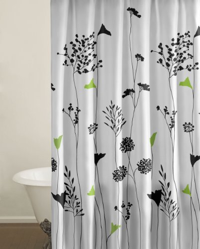 City Scene 100-Percent Cotton Shower Curtain, black and white modern and contemporary black floral Asian Lily shower curtain