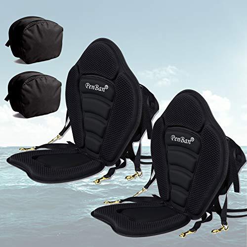 penban 2 pcs Deluxe Padded Kayak Seat Fishing Boat Seat with Storage Bag,Detachable Universal Paddle-Board Seat,Adjustable Paddle Board Seat,Fitting Design for All Body Sizes (2pcs Black)