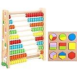 Liuer Ábaco Infantil de Madera Montessori Juguetes Educativos Abaco Granos Coloridos Matematicas Habilidades Juguete Educativo para Niños y Niñas 2 3 4 Años
