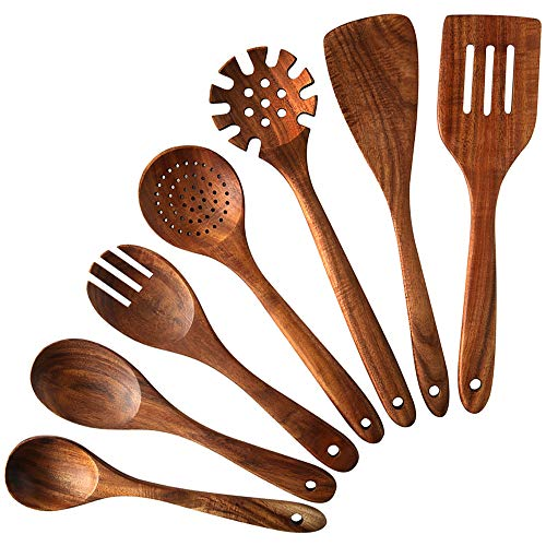 Wooden Kitchen Cooking Utensils,NAYAHOSE 7 PCS Teak Wooden Spoons and Spatula for Cooking, Sleek, Sold and Non-stick Cookware for Home Use and Kitchen Décor (7)