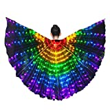 Tieesa Led Light Wings Butterfly Wing Costume LED Dance Wings Rainbow Colors With elescopic Stick for Clothing Performance Belly Dance Show Catwalk Halloween Christmas Party Girl Children Stage Performance Props