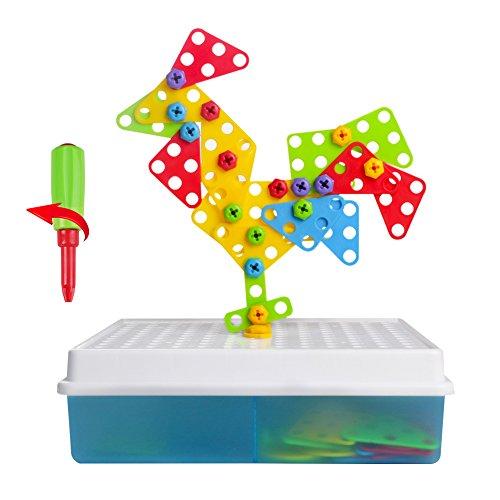 Puzzle 3D fai da te, con vassoi di puzzle e vassoio creativo per bambini di 3 anni + (129 pezzi)