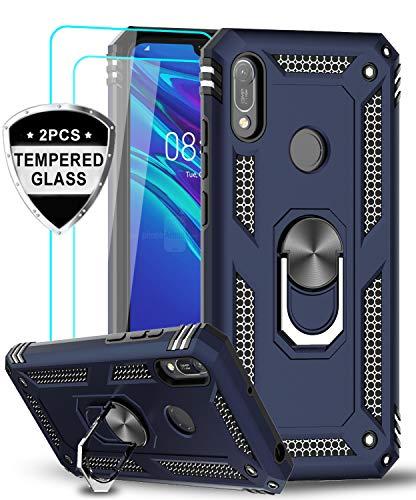 LeYi für Huawei Y6 2019/Y6s Hülle Honor 8A Handyhülle mit Panzerglas Schutzfolie(2 Stück), 360 Grad Magnetische Ringhalter Cover TPU Bumper Schutzhülle für Case Huawei Y6 2019 Handy Hüllen Dunkelblau