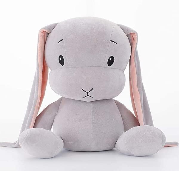 Resense 软垫小兔子玩具创意招财兔毛绒玩具儿童宝宝毛绒抱枕公仔软垫礼物女孩男孩灰色 30 厘米