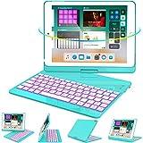 iPad Keyboard Case 9.7 for iPad 6th Gen 2018 - iPad 5th Gen 2017 - iPad Pro 9.7 - Air 2/ Air 1, 360 Rotate 7 Color Backlit Wireless iPad 9.7 inch Case with Keyboard, Auto Sleep Wake,Tiffany Blue