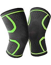 زوج واحد من واقيات الركبة، واقيات للدعم والضغط مبطنة وتلتف حول الركبة، لحماية الركبة للرجال والنساء لتمارين الركض واللياقة البدنية، باللون الاخضر