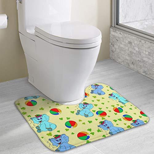 Doinh Alfombrilla de baño de Espuma viscoelástica con diseño de Elefantes y Bolas Coloridas en Forma de U, Suave y cómoda, Lavable 19x16 Pulgadas