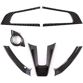 KIMISS Car Style Fibra di carbonio Volante sinistro Decorazione del volante Cornice Trim per Giulia 17-19
