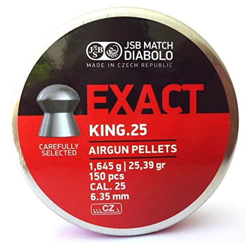 JSB Match Diabolo Exact King Heavies .25 Cal, 33.95 Grains, Domed, 150ct