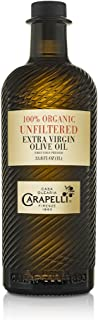 Carapelli - Unfiltered Organic Extra Virgin Olive Oil: First Cold-Pressed EVOO – 33.8 Fluid Ounces (1 Liter)