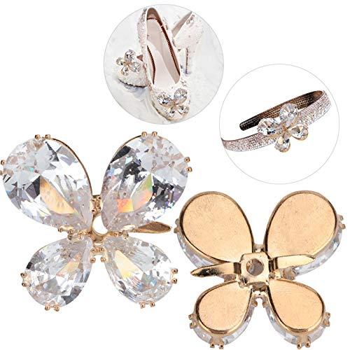 Apliques de Zapatos, decoración de Costura de Ropa Duradera con Diamantes de imitación de Cristal para la Familia para Chanclas(A Pair)