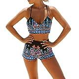 GWELL Damen Bikini Set mit Hotpants Push Up BH Strand Bademode Mehrfarbig, Gr. M
