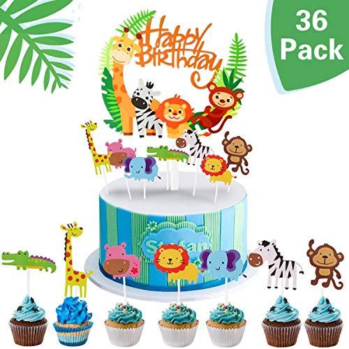 Queta Jungle Animal Cake Topper 35 Stück + Happy Birthday Dschungelkranz, Zoo/Jungle Theme Geburtstagstorte Dekoration, Baby Shower Party Geburtstagsparty DIY Cute Cake Cake Dekoration