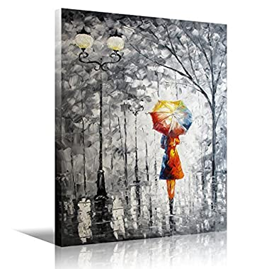 Eatco HD Art Wooden Framed Wall Art Oil Painting On Canvas lady under the umbrella Living Room Decor Stretched ready to Hang HD Prints on Canvas Art 12x16 inch(30x40cm) 1pc