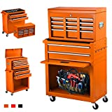 June Win 8-Drawer Rolling Tool Chest,Big Tool Storage Removable,Tool Cabinet with Lockable Drawers, Mobile Toolbox for Workshop and Mechanics Garage (Orange)