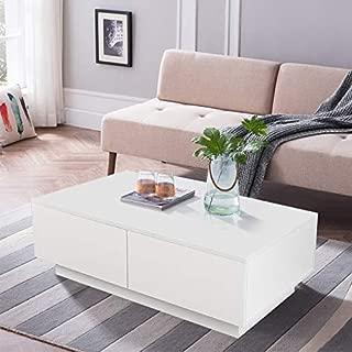 Yosooo High Gloss Finish White Coffee Table with 4 Drawer, Modern Wood Furniture Side/End/Sofa Table Home Office, 95 x 60 x 31cm