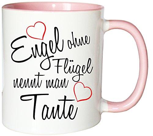 Mister Merchandise Kaffeebecher Tasse Engel ohne Flügel nennt Man Tante Schwanger Baby Pate Beste Freundin Tantchen Schwester Teetasse Becher Weiß-Rosa