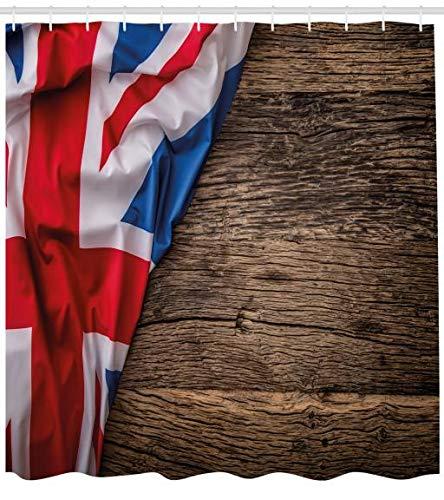 ABAKUHAUS Union Jack Duschvorhang, Flagge auf Eichenbrett, Hochwertig mit 12 Haken Set Leicht zu pflegen Farbfest Wasser Bakterie Resistent, 175 x 200 cm, Multicolor