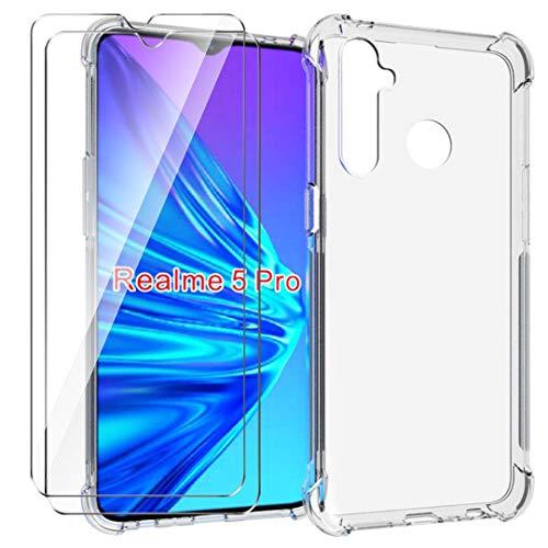 HYMY Funda para Realme 5 Pro Smartphone + 2 x Cristal Templado - Transparente Tapa TPU Silicona [Refuerzo de Cuatro Esquinas, Absorción de Golpes] Caso Carcasa para Realme 5 Pro