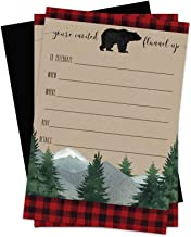 Lumberjack Invitations with Black Envelopes (15 Pack) Boys Baby Shower, Little Bear Birthday Party, Plaid Style Fill-in Invites for Rustic Woodsy Celebrations