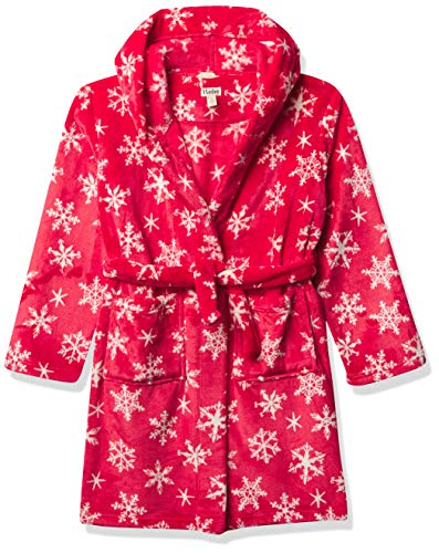 Hatley Jungen Fuzzy Fleece Robe Bademantel, Urlaub Schneeflocken, XL (8-10 Jahre)
