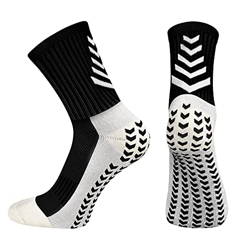 BTNEEU Calcetines Deportivos Antideslizantes Para Hombre, Transpirable Desodorante Calcetines Para Fútbol Baloncesto Running Ciclismo Yoga Trekking (Negro)
