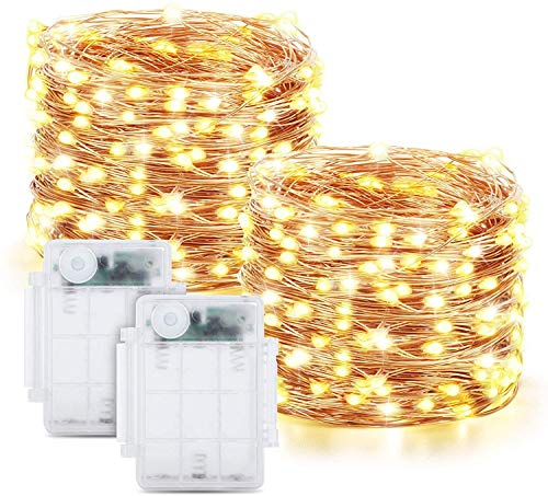 Tarister Battery String lights [2 Pack], 12m 120 LED Fairy Light Outdoor with 8 Modes, Waterproof Fairy Lights for Terrace, Gardens, Balcony, Parties, Warm White