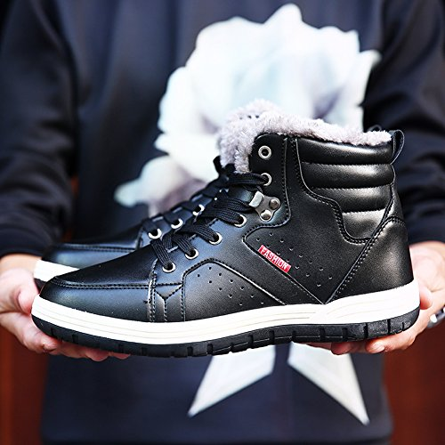 Mens Leather Snow Boots Lace Up Ankle Sneakers High Top Winter Shoes with Fur Lining(Black 40)