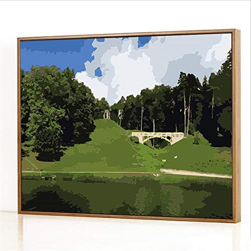 Diy Digitale Olieverfschilderij,Bossen bij de rivier Schilderen Door Cijfers,Linnen Canvas ,Foto Voor Binnendecoratie - 40x50cm(Fotolijst)