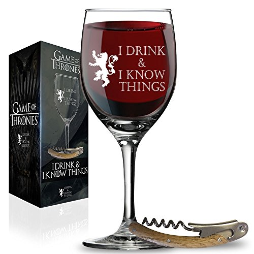 I Drink and I Know Things Wine Glass + FREE Bottle Opener Made In Casterly Rock - Game Of Thrones Inspired - Funny Novelty Gift - With Unique Gifts box included by Desired Cart