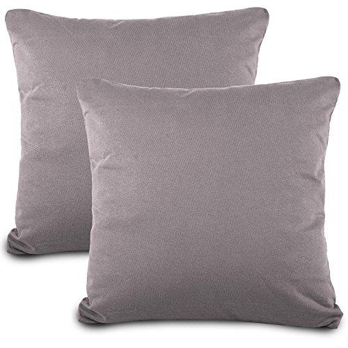 aqua-textil Classic Line Kissenbezug 2er-Set 80 x 80 cm dunkel grau Baumwolle Kissen Bezug Reißverschluss Jersey Kissenhülle