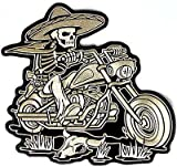 Sombrero Skeleton Rider Mexican Embroidered Biker Vest MC BACK Patch LRG-0359