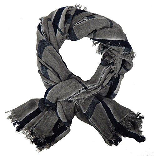 Ella Jonte Écharpes foulard d'homme élégant et tendance de la dernière collection by gris noir coton