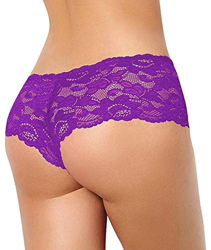 Xs and Os Pack of 2 Women Sexy Lace Boyshort Briefs Women Lace Panty (Pink, Purple (Wine), Small)