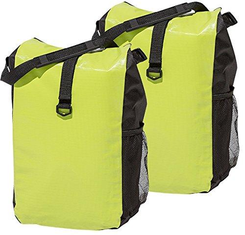 4Uniq Fahrradtasche Gepäckträger Tasche 2er Set Verschiedene Versionen (Limette/schwarz)