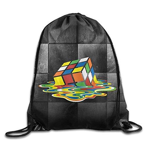 Creative Design TBBT The Big Bang Theory Rubik Cube Melting Rrubik Drawstring Backpack Sport Bag for Men and Women,Drawstring Bag Sport Gym Backpack Gym Bag for Men and Women