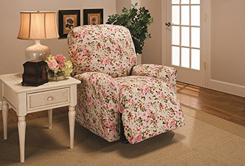 Madison Stretch Jersey Recliner Slipcover, Large, Floral, Pink