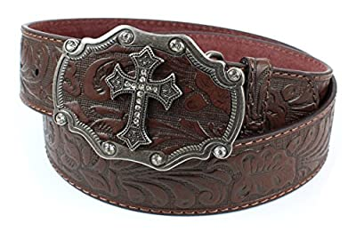 Womens Embossed Pattern Brown Leather Belt Silver Cross and Brown Buckle (S)