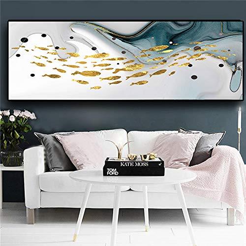 YQLKC Carteles e Impresiones de Arte Abstracto Moderno del océano Imágenes de Peces Dorados Pintura Arte de la Pared para la Sala de Estar Decoración del hogar 23.6'x70.9 (60x180cm) Sin Marco