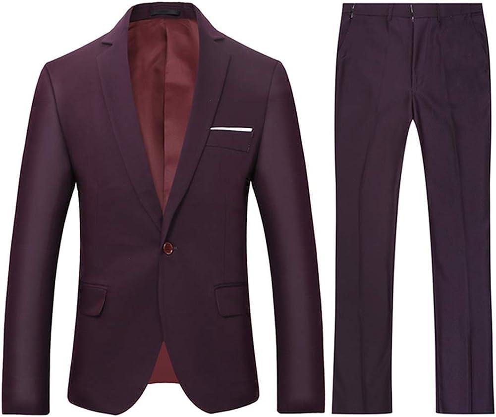 Boyland Mens Slim Fit Suits 2 Pieces Suit Business Blue Purple