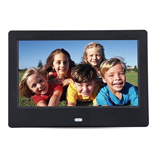 Wandisy 7-Zoll-Digitalfotorahmen - Ultradünner Digitalfotorahmen mit 1024 * 600 HD-Display - Digitalfotorahmen-Wecker Musik-Movie-Player mit Fernbedienung(Schwarzer EU-Stecker)
