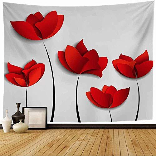 Tapiz de pared Flor de origami Etiqueta de invitación de cinco etiquetas Flores de papel rojo en la madre Concepto blanco Texturas de la naturaleza Tapiz Tapiz de playa Tapiz de playa para decoración