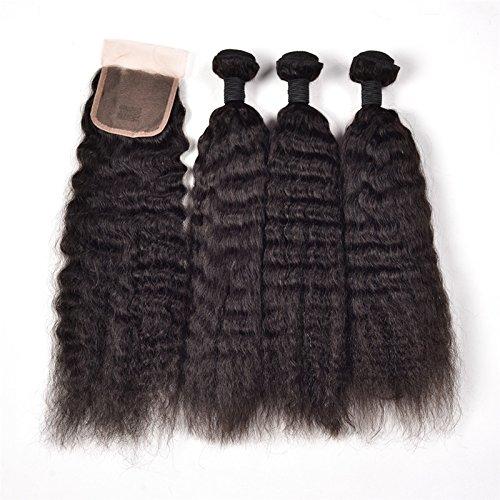 Ruiyu 8A Grade Brazilian Virgin Hair Human Hair Weave Bundles Kinky Straight and Lace Closure Human Hair Extensions Natural Color Pack of 4(3 Pieces 14 inches Weave+1 Piece 10 inches Lace Closure)