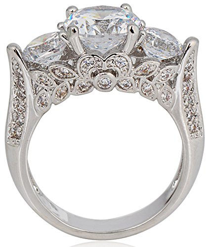SaySure White Gold Filled CZ Diamond Anniversary Wedding & Engagement Ring