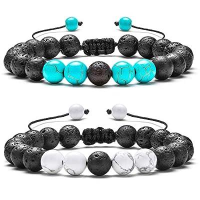 Hamoery Men Women 8mm Lava Rock Aromatherapy Anxiety Essential Oil Diffuser Bracelet Adjustable Natural Stone Yoga Beads Bracelet Bangle(Set 1)