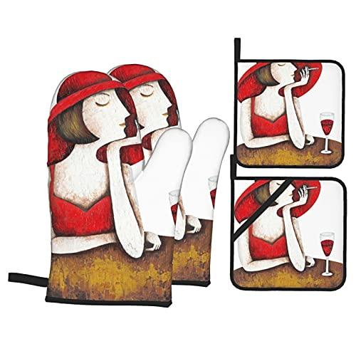 Juegos de Manoplas y Porta ollas para Horno,Retrato de Mujer Hermosa con Copa de Vino Tinto Guantes de Cocina Resistentes al Calor para Hornear en la Cocina, Parrilla, Barbacoa,BBQ