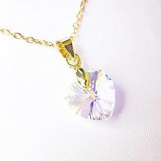 Tutti Joyería - Collar de piedra del mes Abril Diamante con corazón de Swarovski, April Diamond Swarovski Birthstone Necklace
